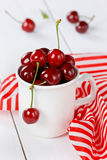 White mug of fresh cherries Royalty Free Stock Photography