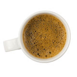 White mug full of coffee with foam Royalty Free Stock Photo