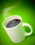 White mug with hot coffee and vapor. 3D render of a white mug with hot coffee and vapor comming out on green background royalty free illustration