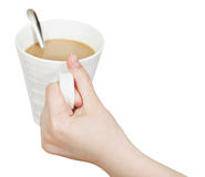 White mug with milk coffee in hand isolated Stock Photos