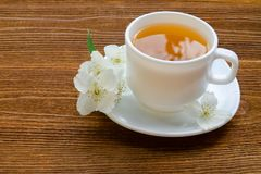 White mug of tea with jasmine on a wooden table. Close up, top view Royalty Free Stock Image