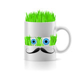 White mug of two parts with grass inside Stock Photo