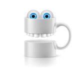 White mug of two parts with teeth and froggy eyes Royalty Free Stock Photos