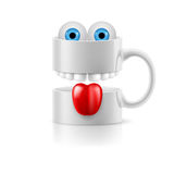 White mug of two parts with teeth, tongue and froggy eyes Stock Photos