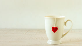 White mug on wooden table Royalty Free Stock Photos