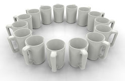 White mugs in a circular pattern Royalty Free Stock Image