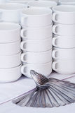 White mugs with spoons decoration Stock Image