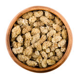 White mulberries in a bowl over white Stock Image