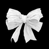 White mulberry paper bow on black  background Stock Photography