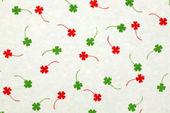 White mulberry paper with red and green leafs Stock Images