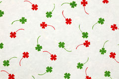 White mulberry paper with red and green leafs Royalty Free Stock Photos