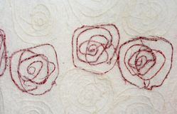 White mulberry paper with red line flower Stock Photo