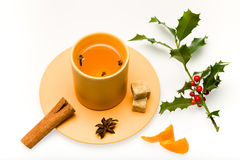 White mulled wine. Fragrant white wine cooked in frosty winter evening Royalty Free Stock Photo
