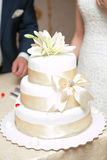 White multi level wedding cake stock images