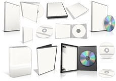 White multimedia disks and boxes Stock Photo