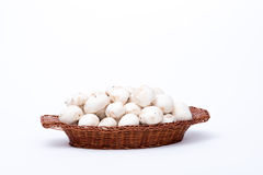 White mushrooms in a basket isolated on white Royalty Free Stock Photo