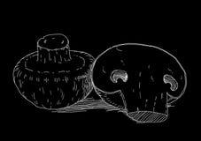 White mushrooms on black background Stock Images