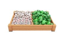 White mushrooms garlic green peppers on wooden tray 3d render on white background no shadow. White mushrooms garlic green peppers on wooden tray 3d render on vector illustration