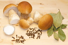 White mushrooms and spices. On a wooden table Royalty Free Stock Images