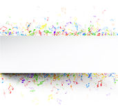 White musical background with notes. White musical background with colorful notes. Vector paper illustration stock illustration