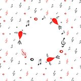 White musical round background with notes. Paper digital illustration. White musical round background with notes. Paper illustration Stock Photography