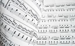 White musical score. Page of a musical score with notes anc octaves Royalty Free Stock Image