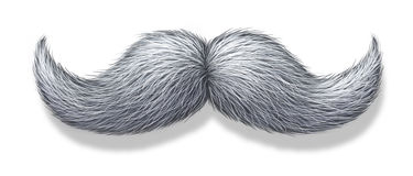 White Mustache. White moustache or grey hair mustache on a white background with a shadow as a symbol of masculinity for male grooming as the trimming of facial royalty free illustration