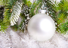 White nacreous glass New Year's ball stock photo