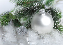 White nacreous glass New Year's ball.Still-life royalty free stock photos