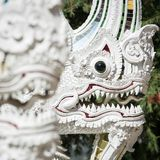 White Naga dragon statue in the buddhist temple Royalty Free Stock Images