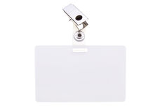 White name tag. Blank clip on name tag with copy space isolated on white Royalty Free Stock Photos