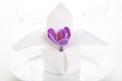 White napkin with crocus Stock Photography
