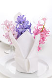 White napkin with hyacinth Royalty Free Stock Images
