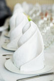 White napkin in restaurant. Banquet Royalty Free Stock Photography