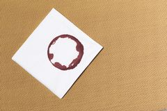 White napkin with wine trace on textured background stock images