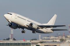 White narrow body jet airplane royalty free stock photos