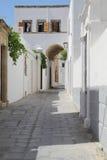White narrow street. Street in Greece, Rhodo Stock Image