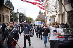 White Nationalist and Anti-Facist Groups Brawl In Downtown Berkeley California Stock Images