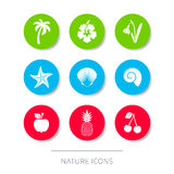 White nature icons collection buttons Royalty Free Stock Photo