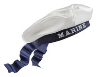 White Nautical hat with blue ribbon. On white background royalty free stock photography