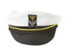 White Nautical hat isolated on white. White Nautical hat isolated on a white background Stock Image