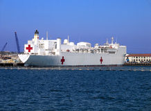 White naval hospital ship Stock Photos