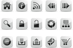 White navigation glossy icon set Royalty Free Stock Image