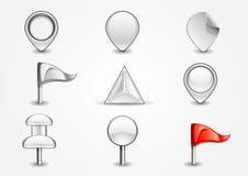 White navigation signs. Set of nine white navigation signs on white background Stock Illustration