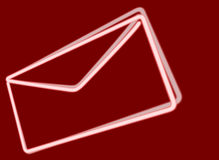 White neon envelope on red background Royalty Free Stock Images