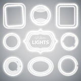 White Neon Lights Frames Stock Images