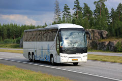 White Neoplan Tourliner Coach Bus on Motorway Stock Photography