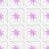 White net and pink flowers cut out o paper. Abstract 3d seamless background. White net and pink flowers cut out o paper with shadow on white background Stock Images