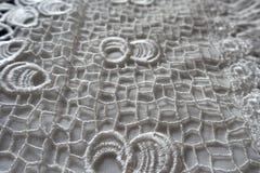 White netlike retro styled openworked lace fabric Stock Image