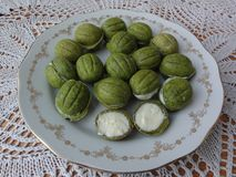 White nettle nuts cream cookies and cakes. Cream cookies, cooked from green dough, using wild plants royalty free stock photography